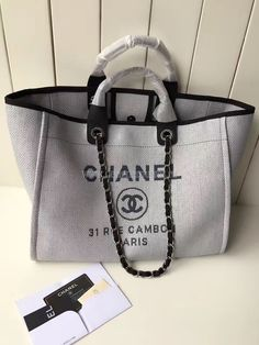 60ed16d91e72 CHANEL Canvas Deauville Large Tote Grey NEW ❤ liked on Polyvore ...