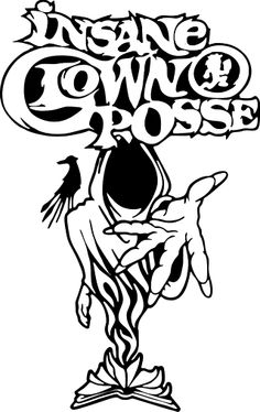 """INSANE CLOWN POSSE (I.C.P.) Huge Reaper with Logo Above.   (Available in Black, White or Red.  To choose use """"notes"""" section during checkout or we will choose for you.) Sticker (7.25"""" x 11.625"""") - $5.98 - 1-VTI-8617"""