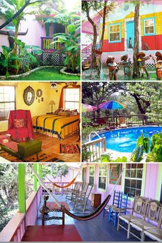 Lost Parrot Cabins is a Lake Travis mini-resort best known as a laid back getaway with artistic decor and lively ambience in the Texas hillcountry of Austin.