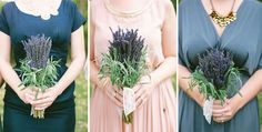 lavender bouquets. Smells so great. Loved having lavender around during my wedding.