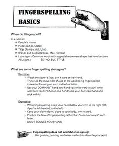 Introduction to Fingerspelling FREE handout & homework