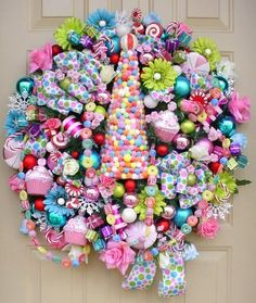 visions of sugarplumsjaniesflowerhutgumdrop treeretro color christmas wreath ebay candy christmas decorationscandy - Christmas Candy Decorations