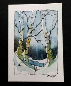 ACEO Original Watercolor Painting - by Watercolorist Jim Lagasse. Size: x Medium: Watercolor Sennelier Honey Based Paints Paper: Canson Paper ACEO Painting is signed and dated by artist on back. Watercolor Pictures, Watercolor Trees, Watercolor Sketch, Watercolor Landscape, Watercolor And Ink, Watercolor Paintings, Watercolours, Watercolor Christmas Cards, Tree Art