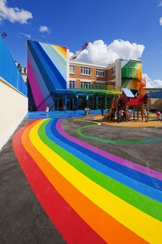 Who wouldn't want to go to school in a place as colorful as this!? Over the rainbow - This Parisian kindergarten is a three level, four classroom kindergarten on Rue Pajol in the 18th arrondissement. The bold overhaul of the 1940s building is a playful intervention commissioned by the city that delivers functional space and public art.
