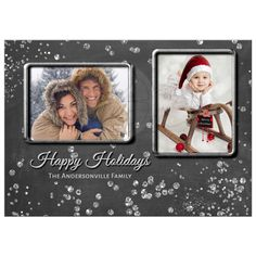 Sparkly Silver Confetti Merry Christmas Photo Card Template