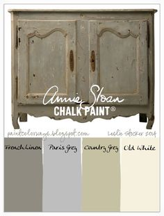 Country grey for the kitchen cabinets - COLORWAYS Antique French Buffet is the inspiration for a sophisticated neutral color palette. Annie Sloan Chalk Paint® colors French Linen, Paris Grey, Country Grey, Old White Chalk Paint Projects, Chalk Paint Furniture, Furniture Projects, Furniture Makeover, Diy Furniture, Furniture Design, Dresser Makeovers, White Furniture, Antique Furniture
