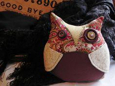 Paisley cozy owl plushie in warm colors Morris OOAK by thatvoodoo