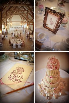 love the blush and lithograph-style table cards