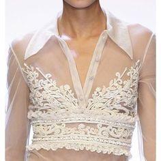 Valentino #embroidery #embellishment #sheer #shirt #blouse #white #detail #designer #collar #fashion #textiles #pretty
