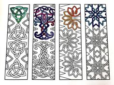 One PDF coloring page of 4 bookmarks with different celtic knot designs! Each bookmark is 2 inches wide and 7 inches tall. Simply color the bookmarks and cut them out! Cool Coloring Pages, Adult Coloring Pages, Coloring Books, Heart Bookmark, Love Joy Peace, Celtic Knot Designs, Parchment Craft, Thinking Day, 2nd Grade Art