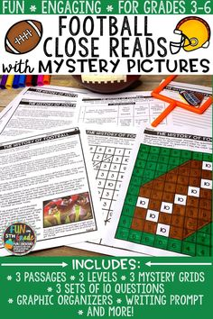 Educate students about the sport of football with this themed set of close reading comprehension passages that include mystery pictures! Just print and GO! There are three DIFFERENT passages each DIFFERENTIATED at three DIFFERENT reading levels. There are two nonfiction texts and one fiction text. Each text comes with 10 text dependent questions, a writing prompt, graphic organizers, and a mystery grid picture.