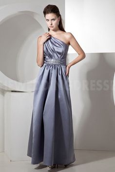 Silver Satin One-shoulder Bridesmaids Gown - Order Link: http://www.theweddingdresses.com/silver-satin-one-shoulder-bridesmaids-gown-twdn5339.html - Embellishments: Beading; Length: Floor Length; Fabric: Satin; Waist: Natural - Price: 116.9995USD
