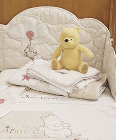 Classic Winnie the Pooh Bedding Collection aww not anytime soon but everyone knows my lover for the and older pooh bear Baby Bedroom, Nursery Bedding, Nursery Room, Baby Bedding, Winnie The Pooh Bedding, Winnie The Pooh Plush, Nursery Themes, Nursery Ideas, Bear Nursery