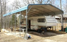 woodworking Great Prices On Metal Rv Covers Customize An Rv Carport And Rv Garage Plans Motor Home G Metal Rv Carports, Rv Garage Plans, Covered Rv Storage, Rv Shelter, Portable Carport, Building A Pole Barn, Building Plans, Rv Homes, Camper Storage