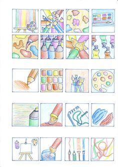 """Schetsen eerste 20 icoon ideeën """"tekenen/kunst"""""""