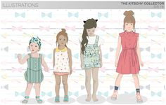 s/s girls trend theme, the kitschy collector, flats & illustrations