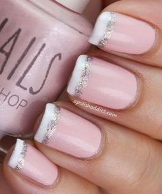 Pink French Nail Tipped with White and Glitter.