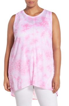 Two by Vince Camuto Two by Vince Camuto 'Rippling Tide' Print Burnout High/Low Tank (Plus Size) available at #Nordstrom