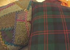 Janet Haigh : Her Work – Page 9 – Textiles: ideas, drawing, design, stitching…. Cushions To Make, Herringbone Stitch, Crazy Patchwork, Tartan Fabric, Running Stitch, Small Gifts, Applique, Textiles, Embroidery
