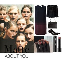 """matte lips"" by jofrebcn  #victoriabeckham #dress #saintlaurent #bags #pumps #sergiorossi #yvessalomon #fur #jacket #womens www.jofre.eu"