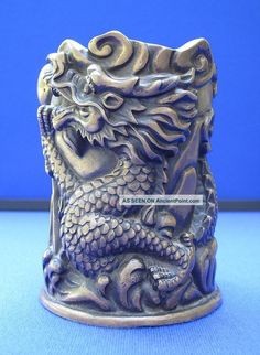 CHINESE BRUSH POTS | ... Chinese Qing Dynasty Bronze Dragon Brush Pot Qianlong Seal Brush Pots