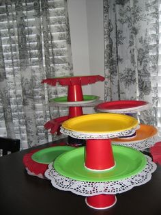 Really easy way to make cake stands to display and serve party food