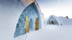 Located only 10 minutes from downtown Quebec City, Canada, the Hotel de Glace is America's only ice hotel entirely made of ice and snow. Using over 500 tons of ice and tons of snow, the square foot sq m) ice hotel is a truly unique experience. Montreal, Oh The Places You'll Go, Places To Visit, Vancouver, Pvt Canada, Unusual Hotels, Amazing Hotels, Beste Hotels, Destination Voyage