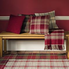 Mulholland Cranberry Check Wool Cushion