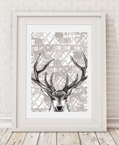 Tartan Stag Illustration Art Print. These wall art ideas by Scottish illustrator Gillian Kyle - make ideal gifts and unique wall art for him or her.