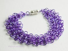 Custom beaded chainmaille bracelet in my favourite colour :)