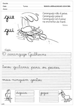 Atividade de caligrafia que qui Calligraphy For Kids, Learn Portuguese, Kids English, Student Life, Special Needs, Sheet Music, Teaching, Writing, Mousse