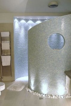 Here's a no - door shower, but with some privacy!