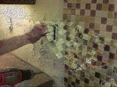 glass tile backsplash tutorial -- electrical box extender info and good demo on how to cut the tiles