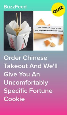 Order Chinese Takeout And We'll Give You An Uncomfortably Specific Fortune Cookie Quizzes Food, Quizzes Funny, Quizzes For Fun, Random Quizzes, Would You Rather Quiz, Best Buzzfeed Quizzes, Cheesy Chicken Pasta, Fun Personality Quizzes, Playbuzz Quizzes