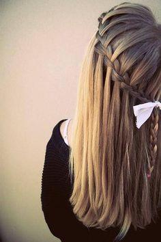 straight hair & waterfall braid