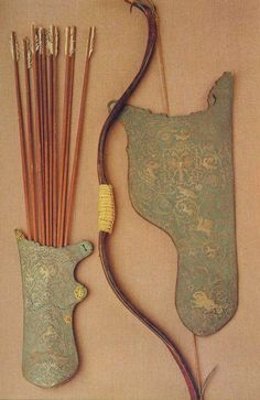 Bow, quiver and ten arrows. Ottoman, or c Archery Bows, Archery Hunting, Deer Hunting, Bow Quiver, Bow Cases, Design Textile, Archery Equipment, Traditional Archery, Bow Arrows