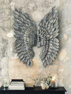 Greywash Gilt Metal Angel Wings