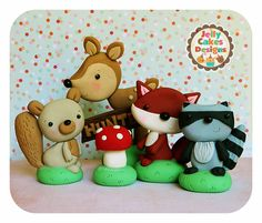 Woodland Animals Keepsake Cake Topper Set for birthdays and baby showers by jellycakesshoppe on Etsy https://www.etsy.com/listing/220327744/woodland-animals-keepsake-cake-topper