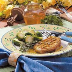 "Honey-Mustard Pork Chops Recipe- Recipes  ""I started using this recipe when my girls were little,"" Angela Lott says of these moist pork chops and sweet sauce.  ""I grilled everything because it allowed me to be outside watching children play in the pool,"" relateds the Neshanic Station, New Jersey cook."