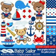 Pink Baby Sailor - Clip art and digital paper set - Nautical clipart Kit Scrapbook, Nautical Clipart, Project Yourself, Digital Stamps, Print And Cut, Party Supplies, Kindergarten, Prints, Kids