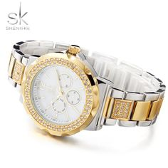 Only US$24.83, gold SK 2017 Luxury Gold Stainless Steel Women Watch Quartz Analog - Tomtop.com