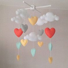 Items similar to Baby mobile - Cot mobile - clouds and hearts - Cloud Mobile - Baby girl mobile - Nursery Decor - Pastel Nursery - Pastel baby mobile on Etsy Cool Baby, Baby Love, Pastel Nursery, Girl Nursery, Nursery Decor, Room Decor, Bright Nursery, Baby Mädchen Mobile, Cloud Mobile