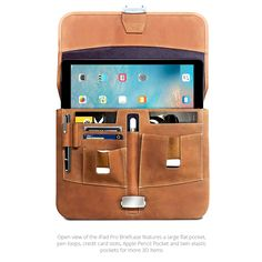 The open view of our new Premium Leather iPad Pro Briefcase shows all the organization and storage features you'll find under the flap. The center pocket for the Apple Pencil is the main visual and functional theme of all our iPad Pro models.