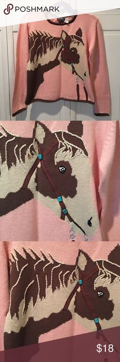 🐴🐎 Cute horse sweater! 🐴🐎 This is a great sweater for horse people!  I love this sweater but haven't worn it or any other sweater!! because I'm chronically hot!  (Hormones or meds!). It's only been gently worn for short periods.  EUC.  Turquoise colored beads embellish the appliqués & embroidered bridal. The horses mane has embroidered detailing.  55% linen/45% cotton.  Rolled hems. Roughrider by Circle T Sweaters Crew & Scoop Necks