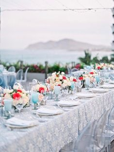 Blue Wedding reception decorations overlooking the ocean long table setup - Photography: JBJ Pictures | Colorful Cabo Destination Wedding - Belle The Magazine Blue Wedding Receptions, Wedding Reception Decorations, Wedding Centerpieces, Wedding Table, Wedding Ideas, Best Bride, Honeymoon Spots, Something Blue Wedding, Up To The Sky