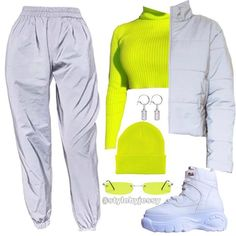 Das ganze Outfit ist von - New Ideas Neon Outfits, Cute Swag Outfits, Kpop Fashion Outfits, Stage Outfits, Edgy Outfits, Retro Outfits, Crazy Outfits, Dance Outfit, Winter Trends