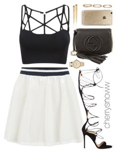 """""""Classy chic swag summer party outfit"""" by cherrysnoww ❤ liked on Polyvore featuring ONLY, Gucci, Gianvito Rossi, Michael Kors, Rifle Paper Co and Forever 21"""