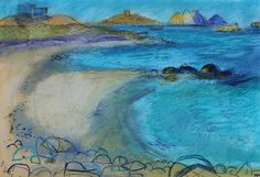 Tresco by Maggie Matthews. Abstract Landscape, Abstract Art, Color Studies, Seascape Paintings, Art Journals, Cornwall, Acrylics, Contemporary Art, Mixed Media