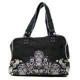 Loungefly Day of the Dead Sugar Skull Embroidered Light Black and Silver Purse (Apparel)By Loungefly