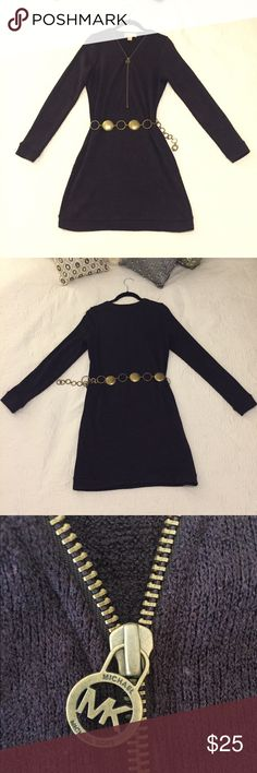 """MICHAEL Michael Kors Long-Sleeved Sweater Dress Eggplant in color, it's a mini dress on me, but I'm 5'11"""". Comes with bronze/gold metallic belt, unattached. Texture: some pilling throughout, see photo 6. MICHAEL Michael Kors Dresses Long Sleeve"""